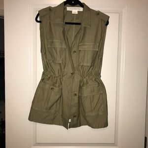 Army Green-casual vest/jacket lightly distressed